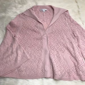 Cabi Pink Sweater Style #918 Pointelle Knit Cardi